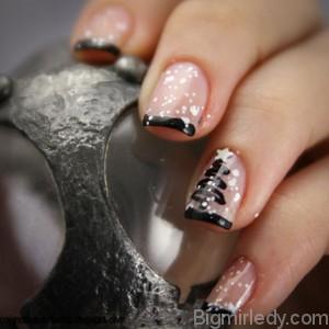 Новорічний дизайн нігтів з сніжком 2
