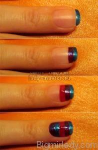 Дизайн нігтиків «червоний + синій=фіолет» 3
