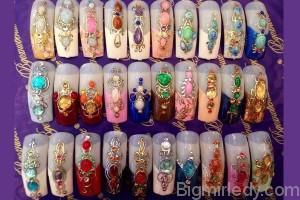 Дизайн нігтів рідкі камені 2