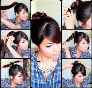 Прості зачіски на середні волосся своїми руками 11