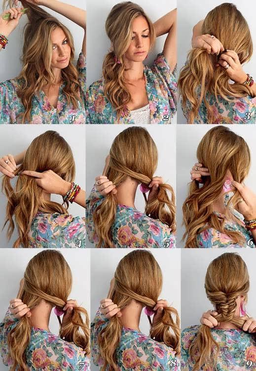 Косичка на длинные волосы своими руками фото