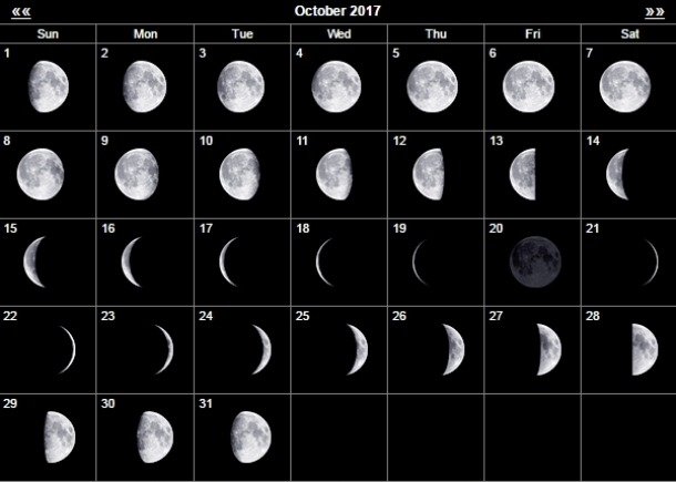 Місячний календар на жовтень 2017 року