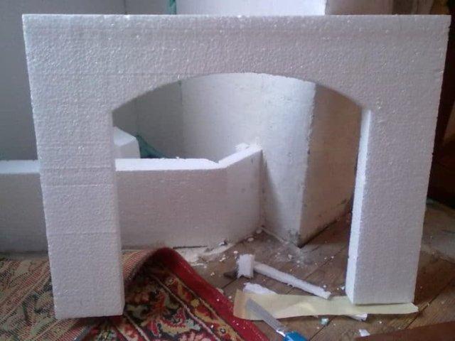 Имитация камина своими руками в квартире из пенопласта 20